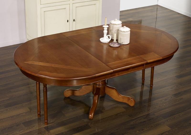 table ovale pied central annie 160x120 en merisier de. Black Bedroom Furniture Sets. Home Design Ideas