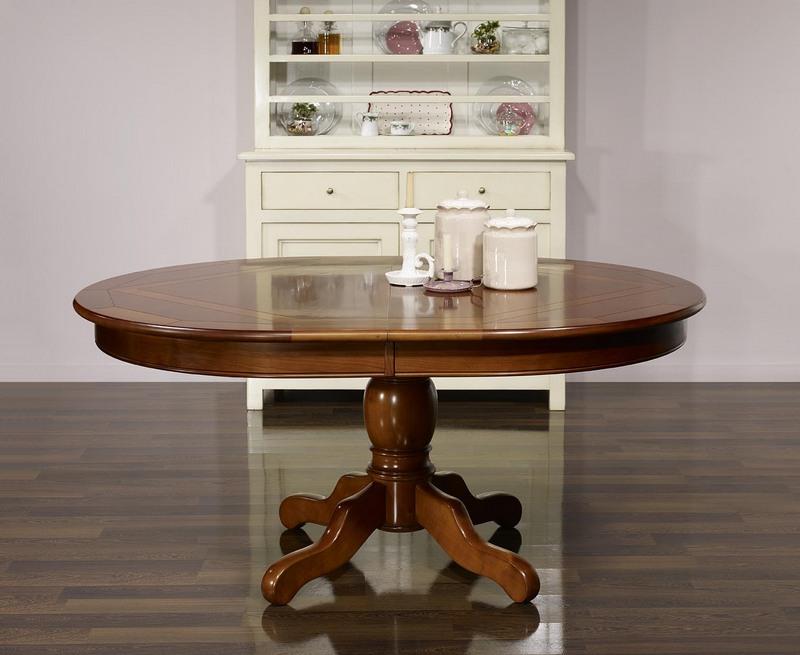 Table ovale pied central annie 160x120 en merisier de for Table ovale pied central