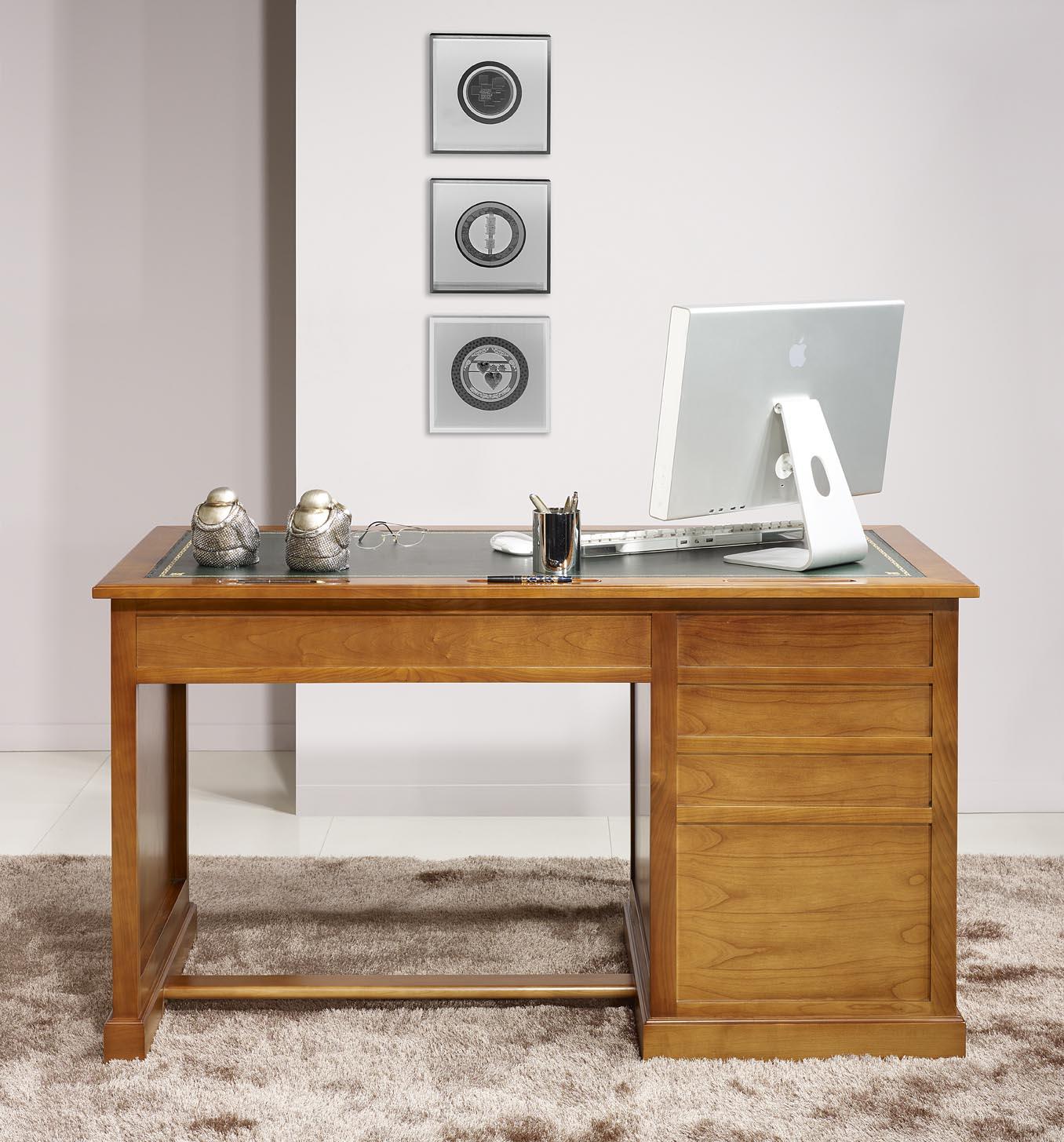 Bureau 5 tiroirs ne en merisier de style louis philippe for Bureau 5 tiroirs