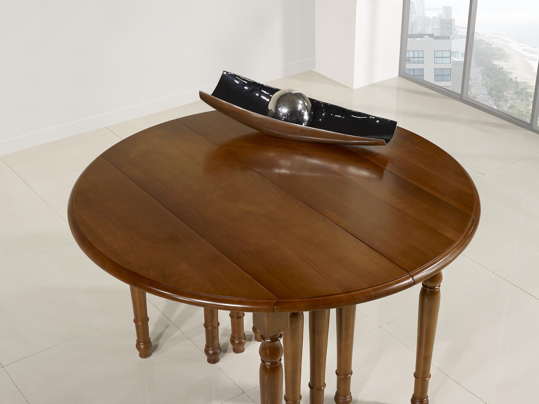 d04a232a249aa ... Table ronde à volets DIAMETRE 120 réalisée en Merisier massif de style  Louis Philippe 10 allonges ...