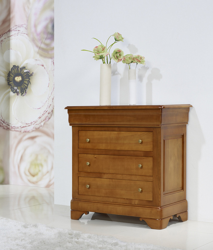 petite commode 4 tiroirs en merisier massif de style louis. Black Bedroom Furniture Sets. Home Design Ideas