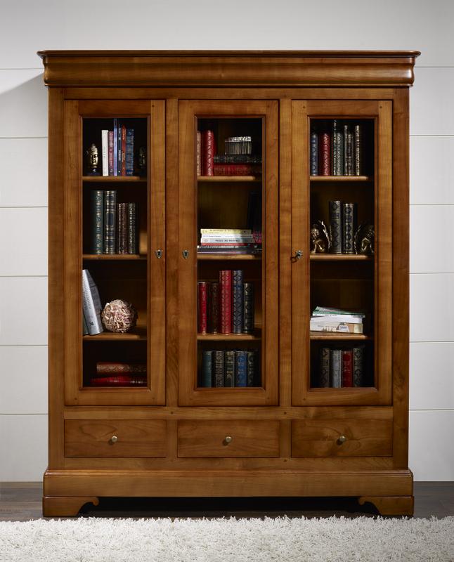 biblioth que 3 portes 3 tiroirs en merisier massif de style louis philippe meuble en merisier. Black Bedroom Furniture Sets. Home Design Ideas