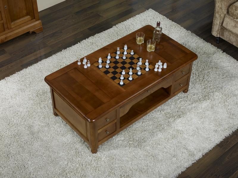 table basse jeu d 39 chec en merisier de style louis philippe meuble en merisier. Black Bedroom Furniture Sets. Home Design Ideas