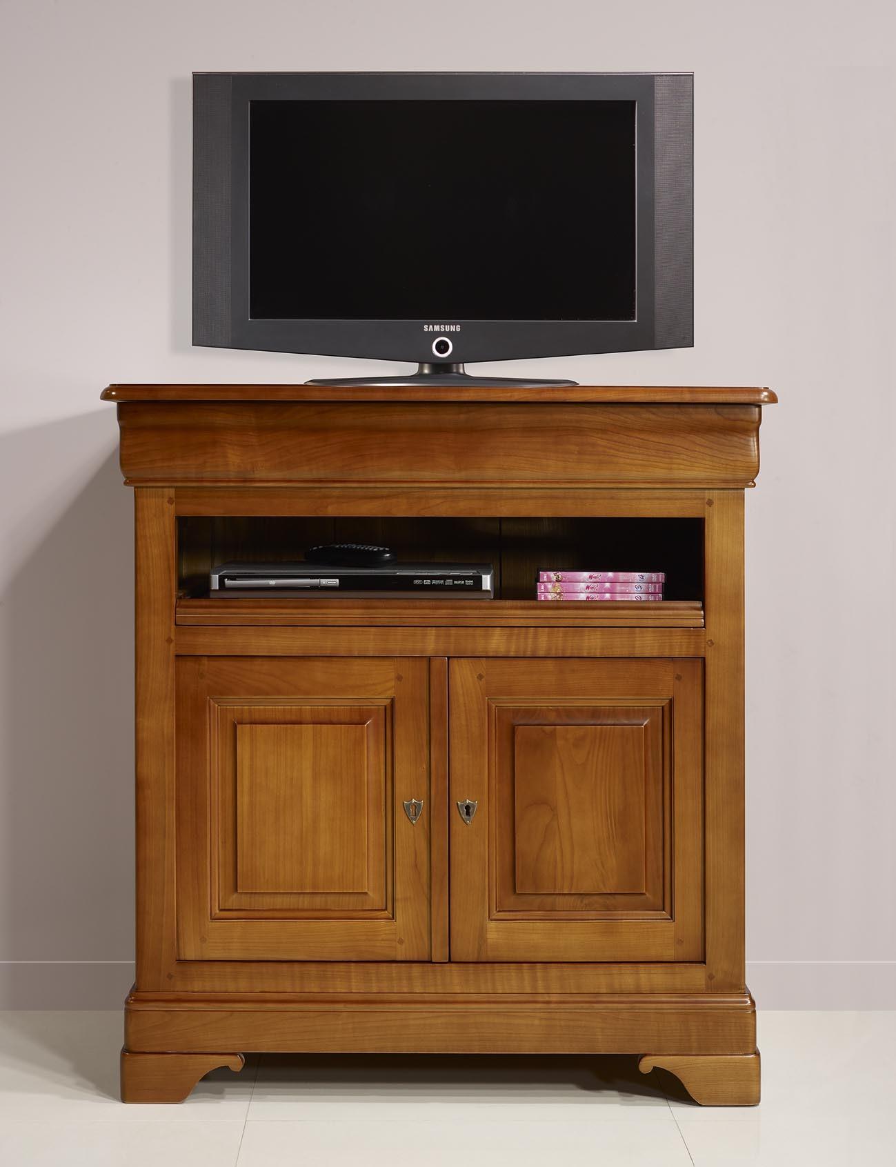 Meuble tv 2 portes le en merisier massif de style louis for Meuble tv merisier