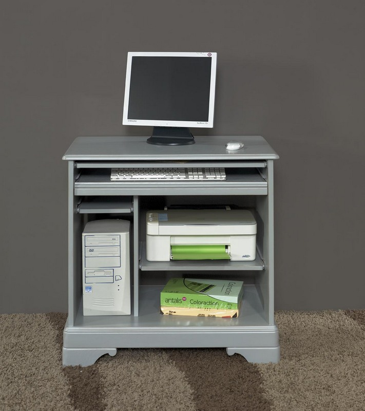 Bureau informatique en merisier de style louis philippe laqu gris us meuble en merisier - Bureau informatique en pin ...