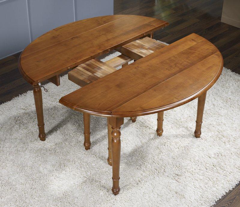 Table ovale volets 135x110 en merisier de style louis for Table ovale avec rallonges
