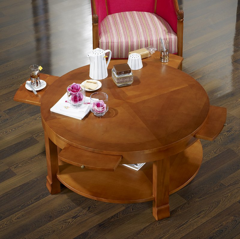 Table basse ronde elsa en merisier de style contemporain - Tables basses rondes ...