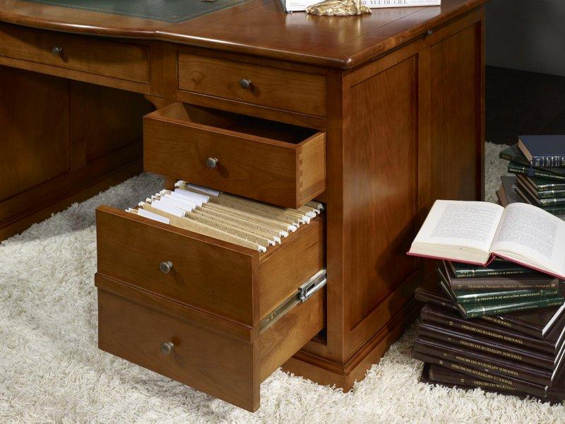 Bureau ministre sp cial dossiers suspendus en merisier massif de style louis - Bureau en bois a vendre ...