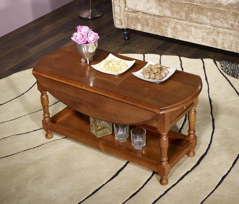 Table basse ovale volets zo en merisier massif de style louis philippe meuble en merisier - Table basse louis philippe ...