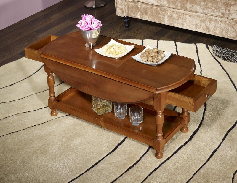 Table Basse En Bois Ancienne - Table Basse Ovaleà volets Zoé en merisier massif de style Louis Philippe , meuble en Merisier