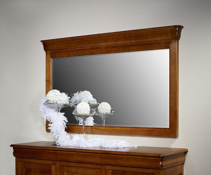 Miroir pour buffet 3 portes en merisier massif de style for Miroir dessus buffet