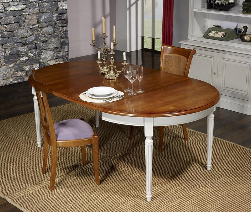 Table ronde 4 pieds diane en merisier massif de style for Table bois bicolore