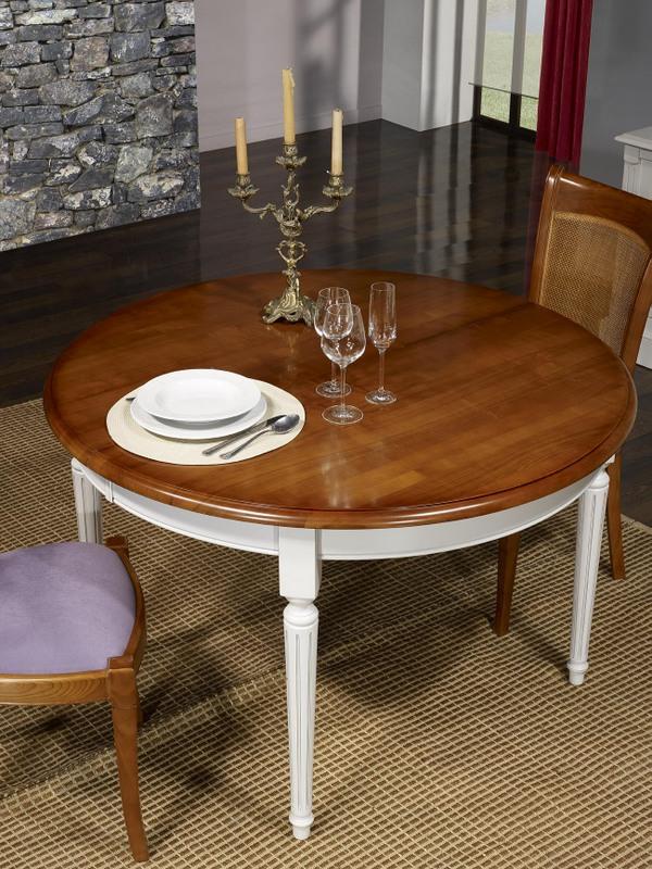 Table ronde 4 pieds diane en merisier massif de style - Diametre table ronde 4 personnes ...