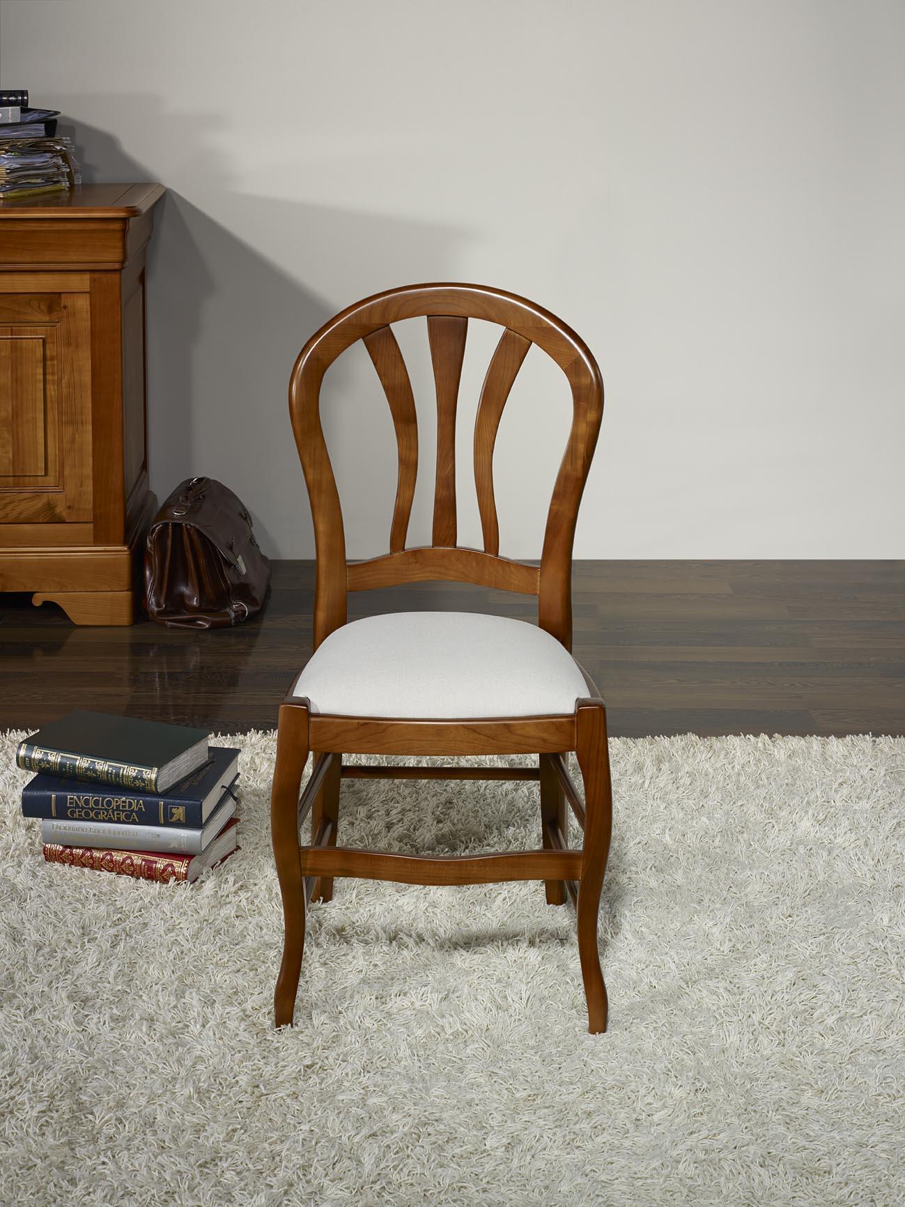 Chaise camille en h tre massif assise tissu de style louis philippe meuble en merisier - Chaise style louis philippe ...