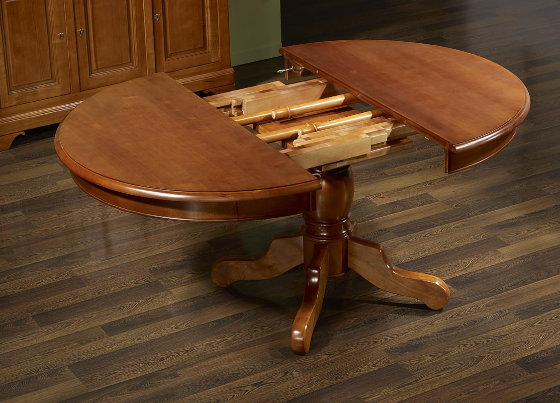 table ronde pied central aline en merisier massif de style. Black Bedroom Furniture Sets. Home Design Ideas