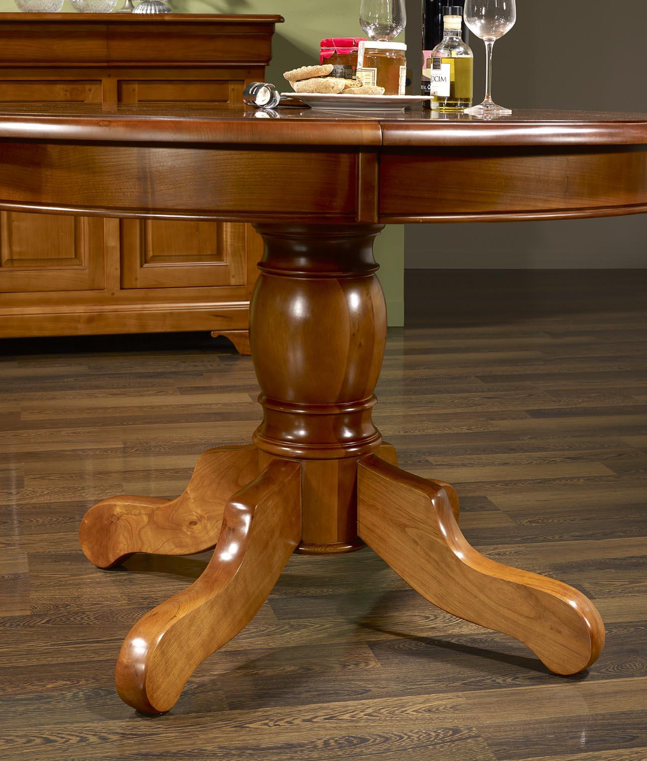 59cd0e5b624bf ... Table ronde pied central Sophie réalisée en Merisier Massif de style  Louis Philippe Diamètre 120 4 ...