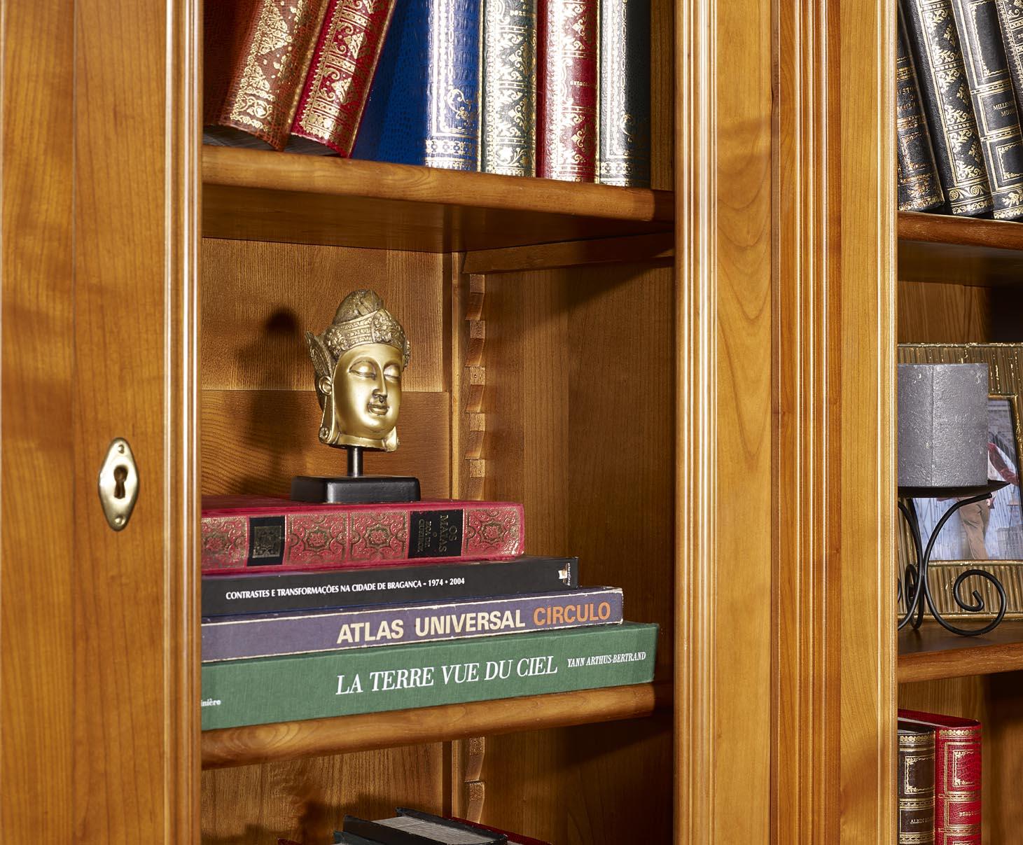 Biblioth Que 2 Corps 6 Portes Sabine En Merisier Massif De Style  # Bibliotheque Directoire Avec Etageres En Merisier