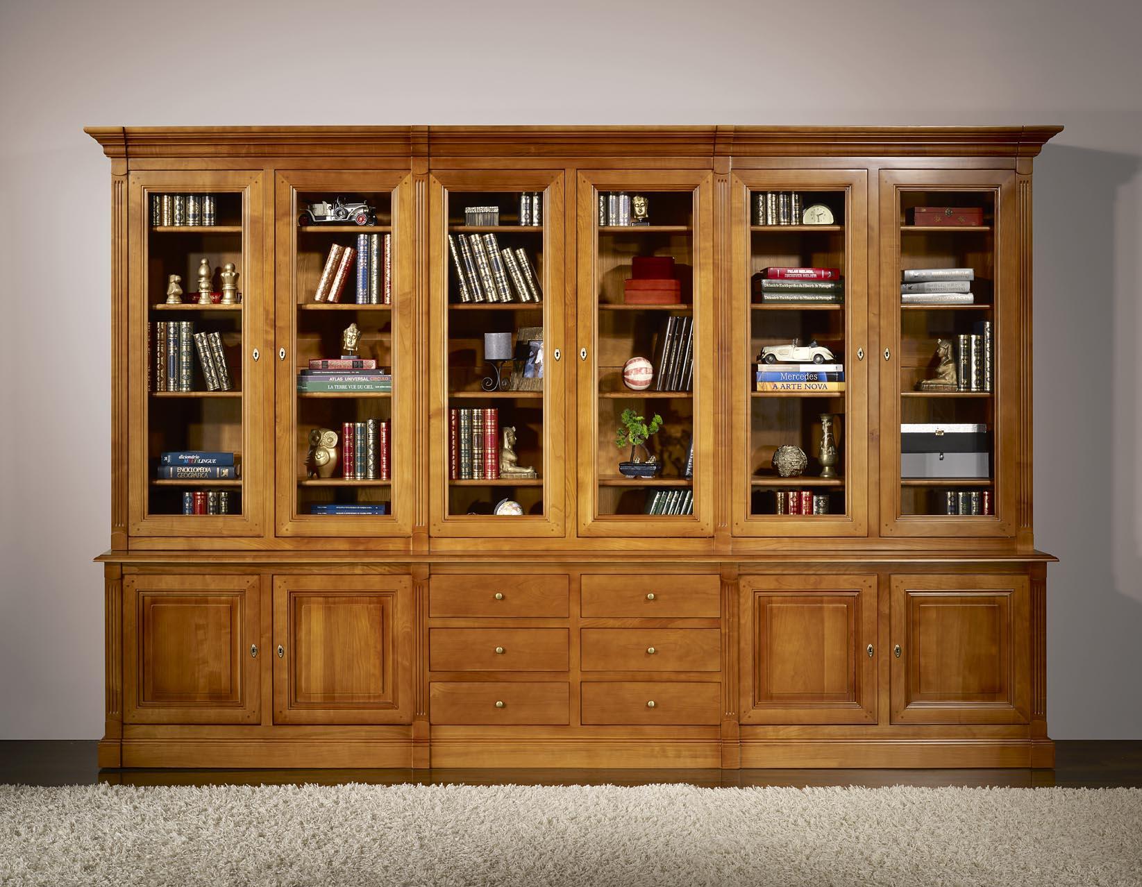 Bibliothèque 2 Corps 6 Portes Sabine En Merisier Massif De Style