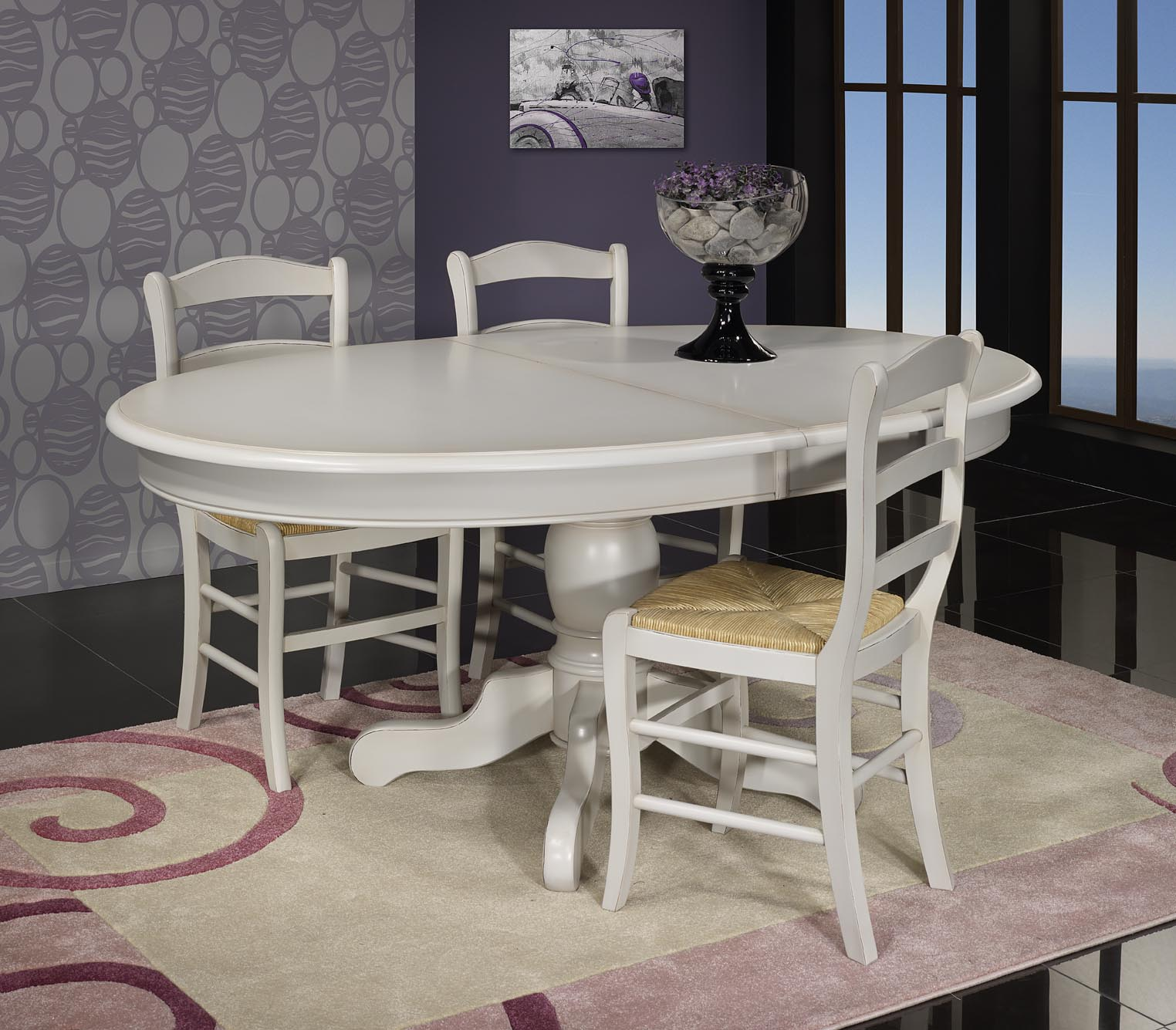 Table ovale 135x110 pied central delphine en merisier massif de style louis p - Table ovale design pied central ...