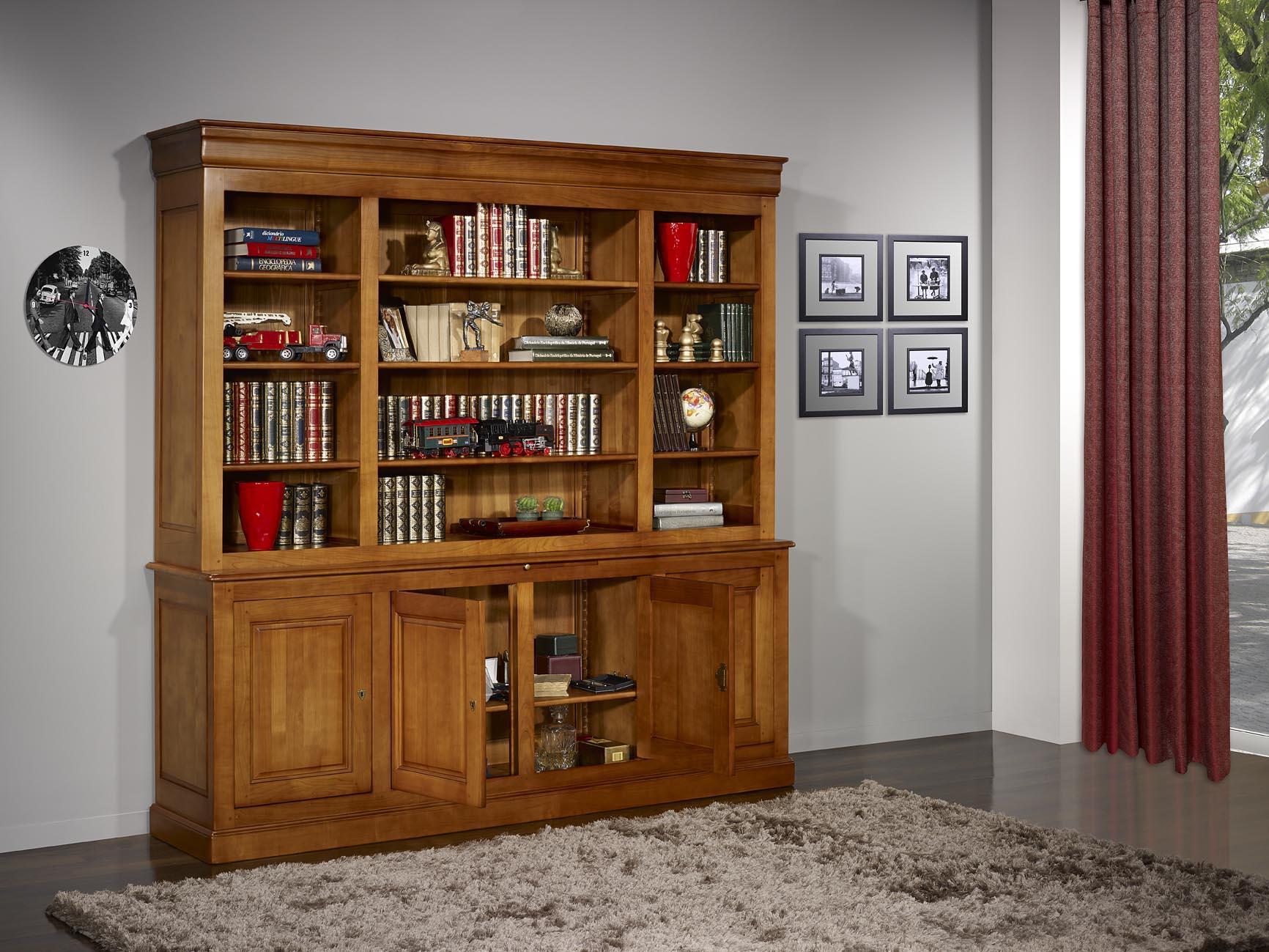 biblioth que 2 corps en merisier massif de style louis philippe meuble en merisier. Black Bedroom Furniture Sets. Home Design Ideas