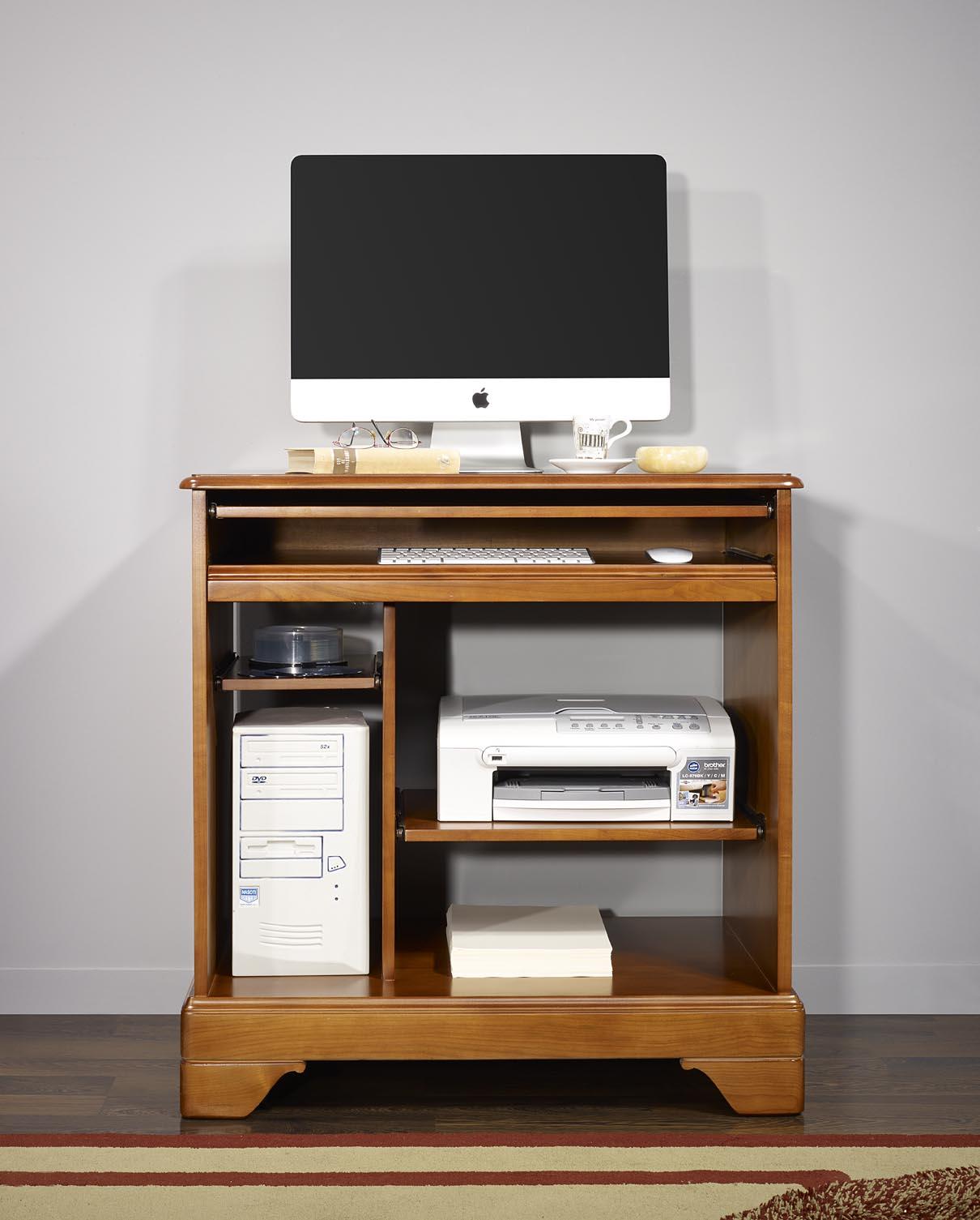 Petit bureau informatique en merisier de style louis philippe meuble en merisier - Bureau informatique en pin ...