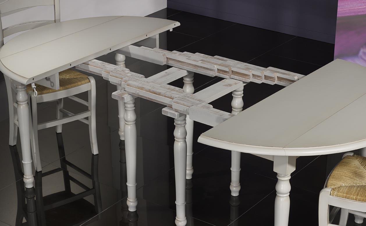 table ronde volets diametre 120 en merisier massif 5 allonges de 40 cm finition gris perle. Black Bedroom Furniture Sets. Home Design Ideas