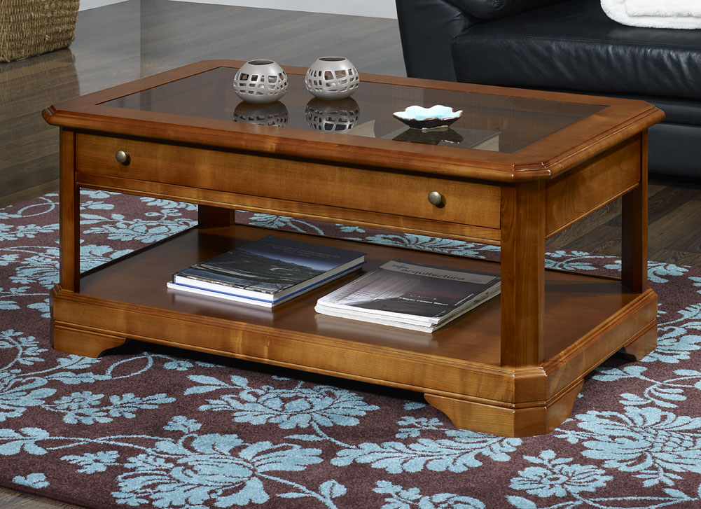 Table basse en merisier massif de style louis philippe for Table basse en merisier