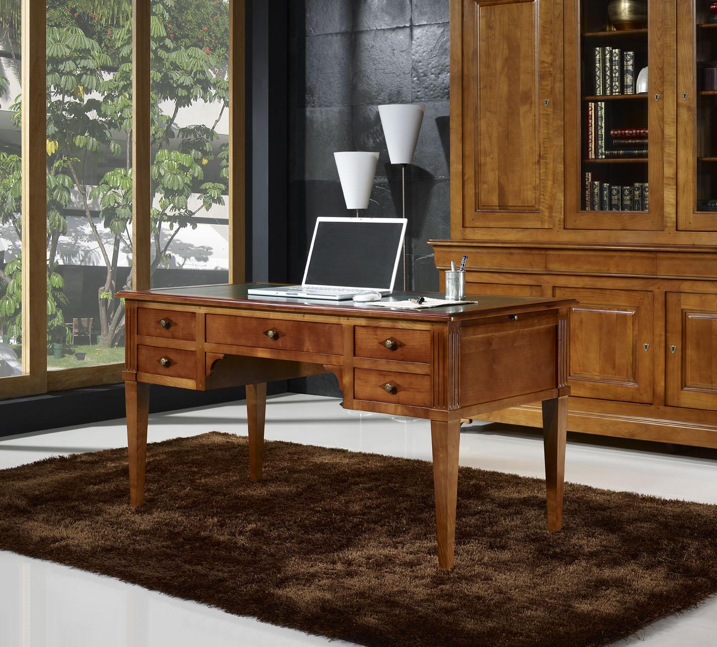 bureau ministre en merisier massif de style directoire meuble en merisier. Black Bedroom Furniture Sets. Home Design Ideas