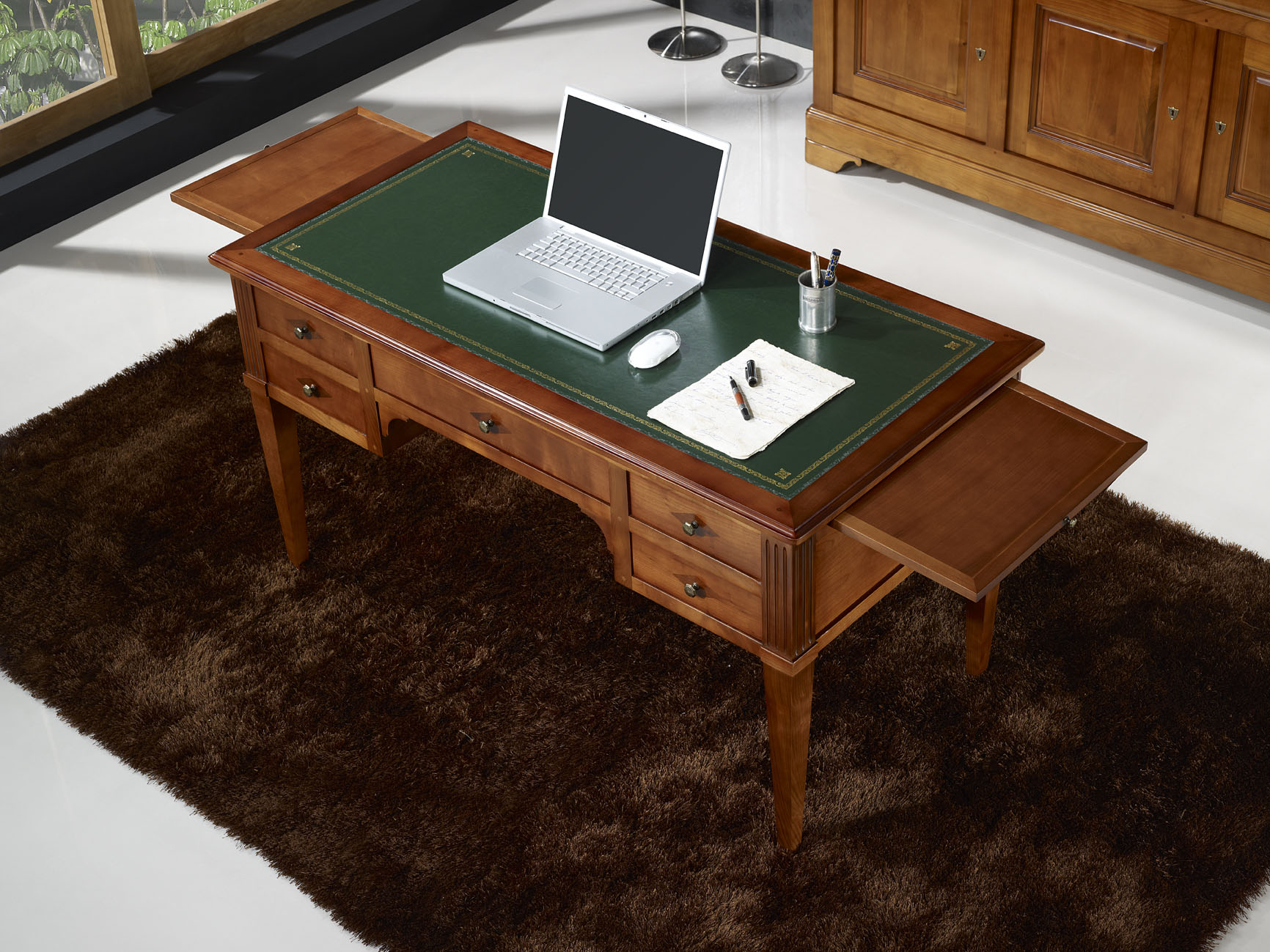 Bureau ministre en merisier massif de style directoire - Bureau en bois moderne ...