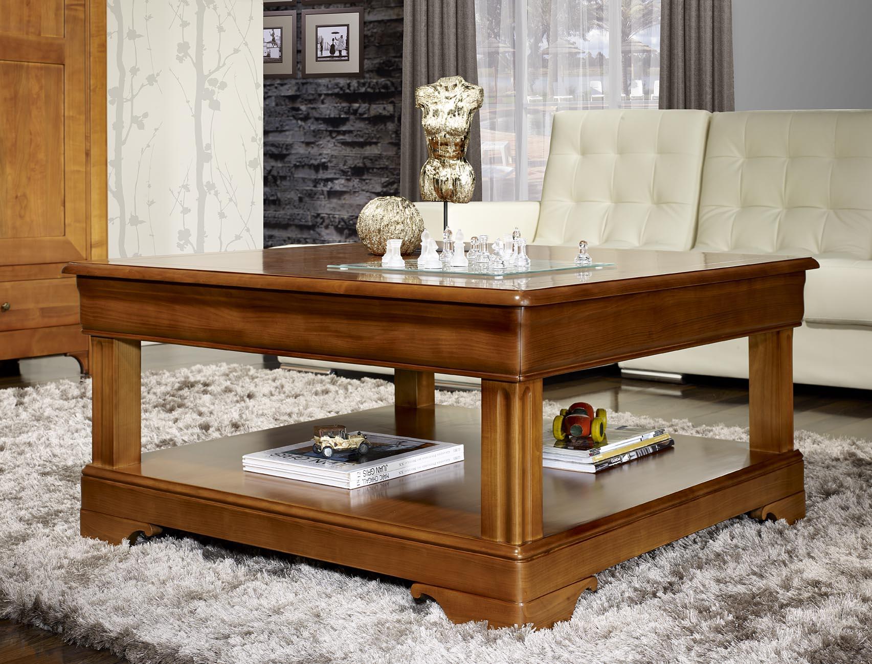 Table Basse Carr E En Merisier De Style Louis Philippe Meuble En  # Meuble Basse