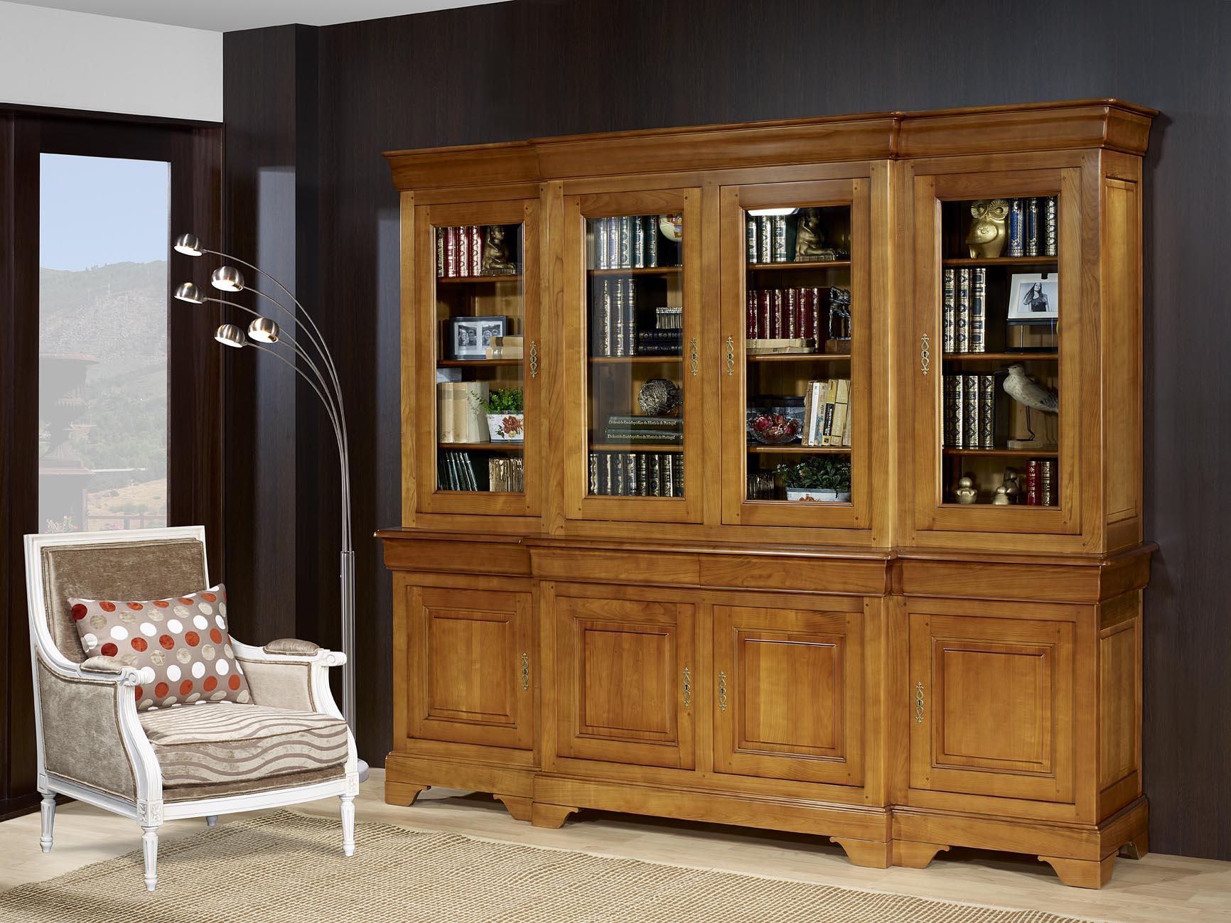 biblioth que 2 corps 4 portes anne laure en merisier massif de style louis philippe meuble en. Black Bedroom Furniture Sets. Home Design Ideas