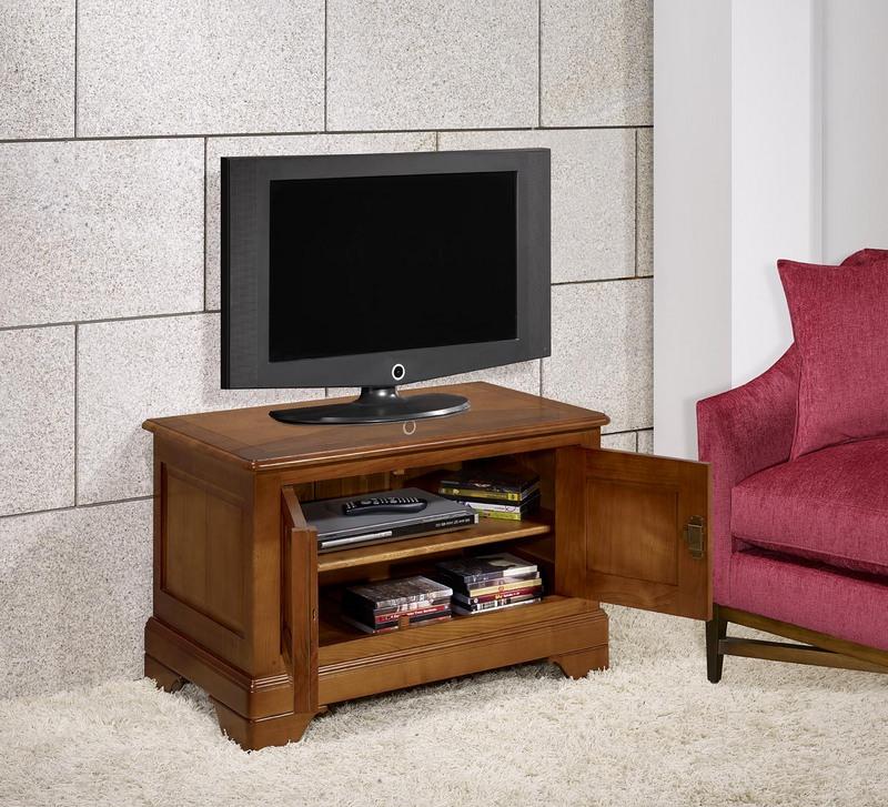 meuble tv 2 portes maryse en merisier massif de style louis philippe meuble en merisier. Black Bedroom Furniture Sets. Home Design Ideas