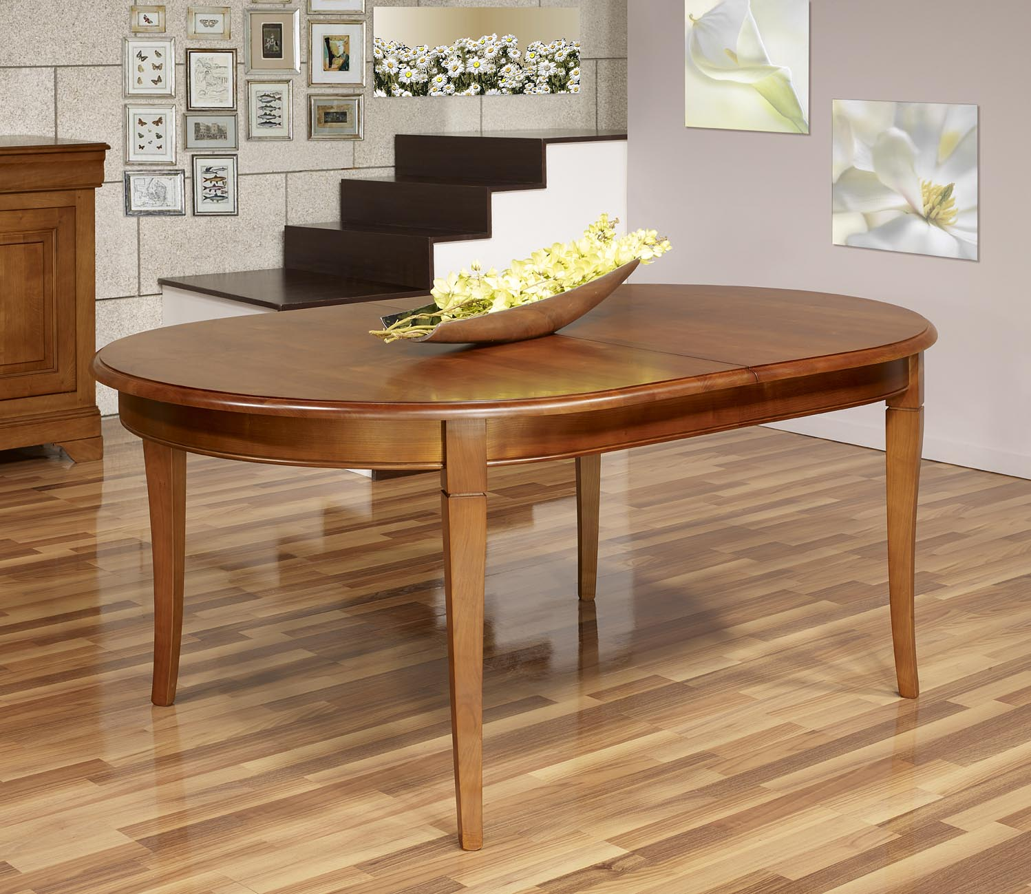 Table ovale constance 180 120 en merisier massif de style for Table ovale avec allonges