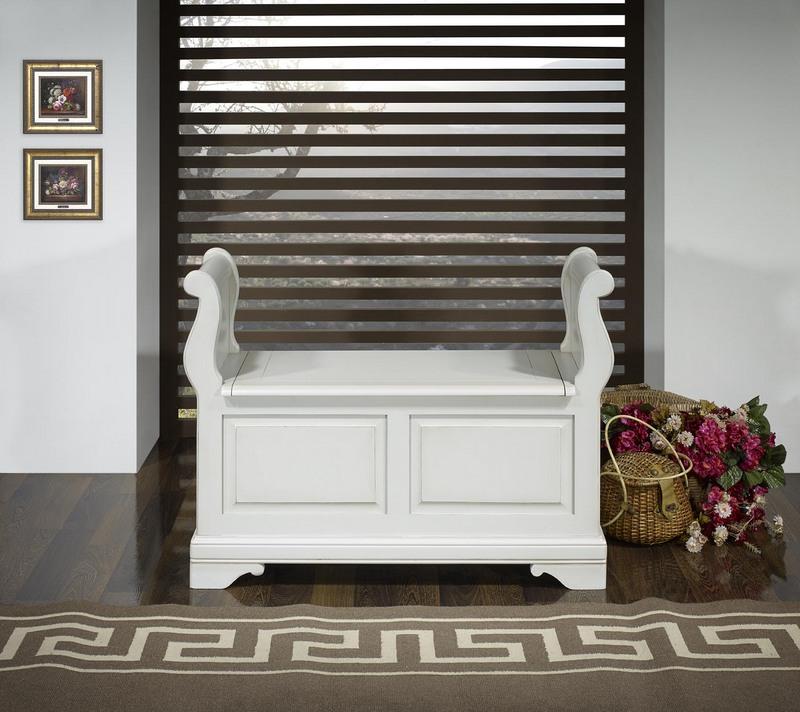 banc coffre ine en merisier massif de style louis philippe finition gris perle meuble en merisier. Black Bedroom Furniture Sets. Home Design Ideas