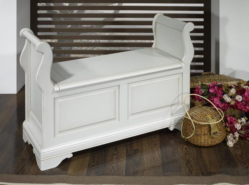 banc coffre ine en merisier massif de style louis philippe. Black Bedroom Furniture Sets. Home Design Ideas