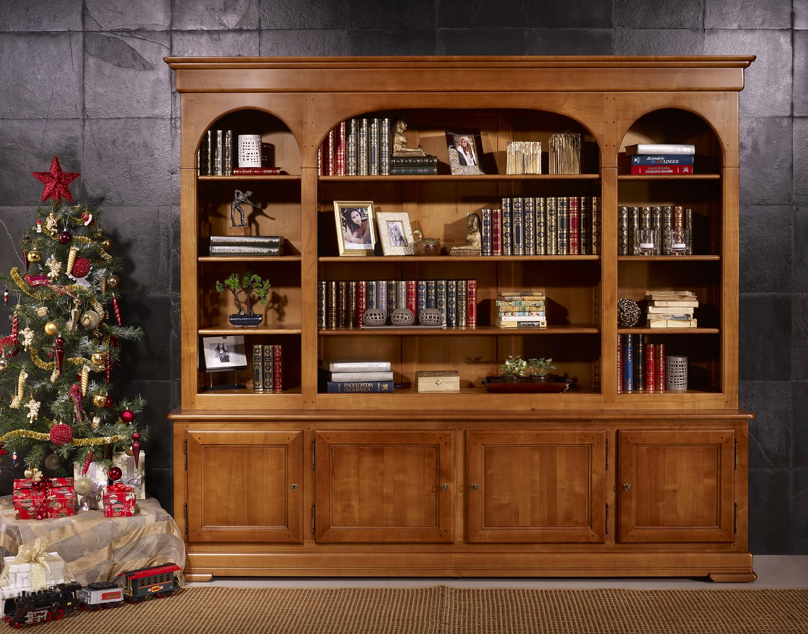 Biblioth que 4 portes h l ne en merisier massif de style louis philippe meuble en merisier - Relooker une bibliotheque en merisier ...