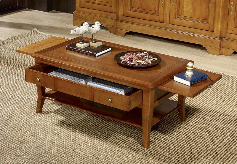 Table basse rectangulaire alba en merisier de style louis philippe meuble en merisier - Table basse louis philippe ...