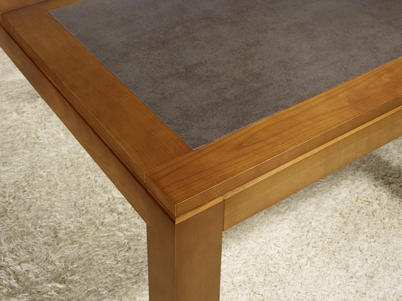 table de repas aurore ralise en merisier massif contemporaine plateau cramique largeur 160 cm - Table Merisier Massif