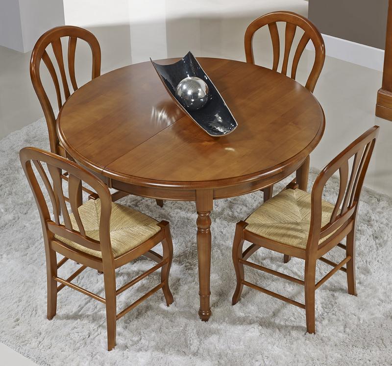 Table ronde 4 pieds tourn s audrey en merisier massif de - Diametre table ronde 4 personnes ...