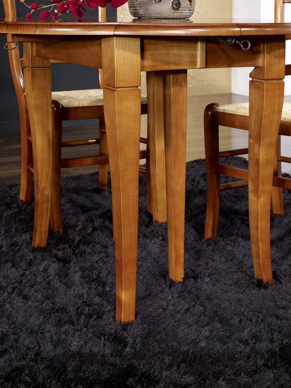 table ronde volets en merisier massif de style louis. Black Bedroom Furniture Sets. Home Design Ideas