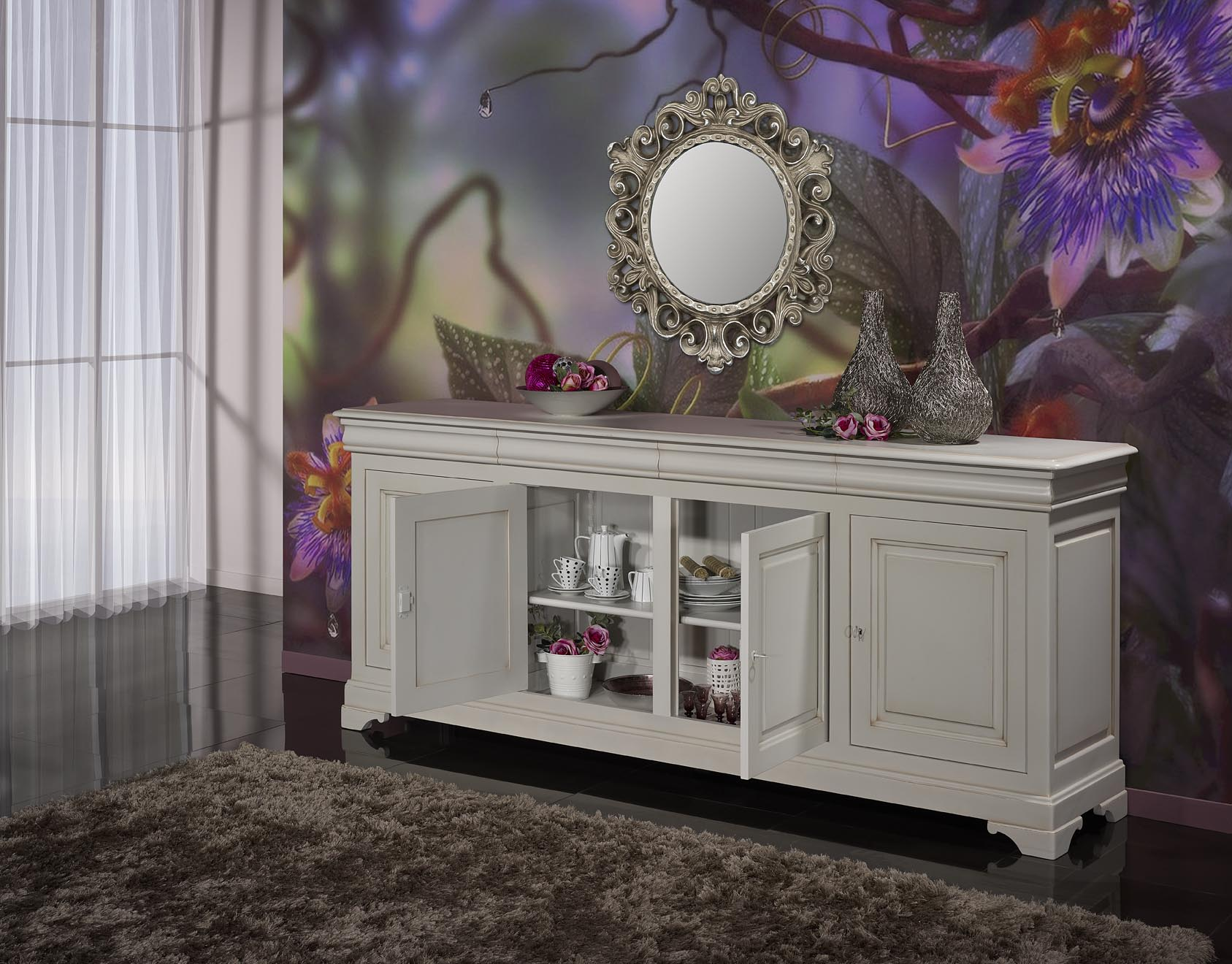 buffet 4 portes 4 tiroirs en merisier massif de style louis philippe finition gris perle paitin. Black Bedroom Furniture Sets. Home Design Ideas
