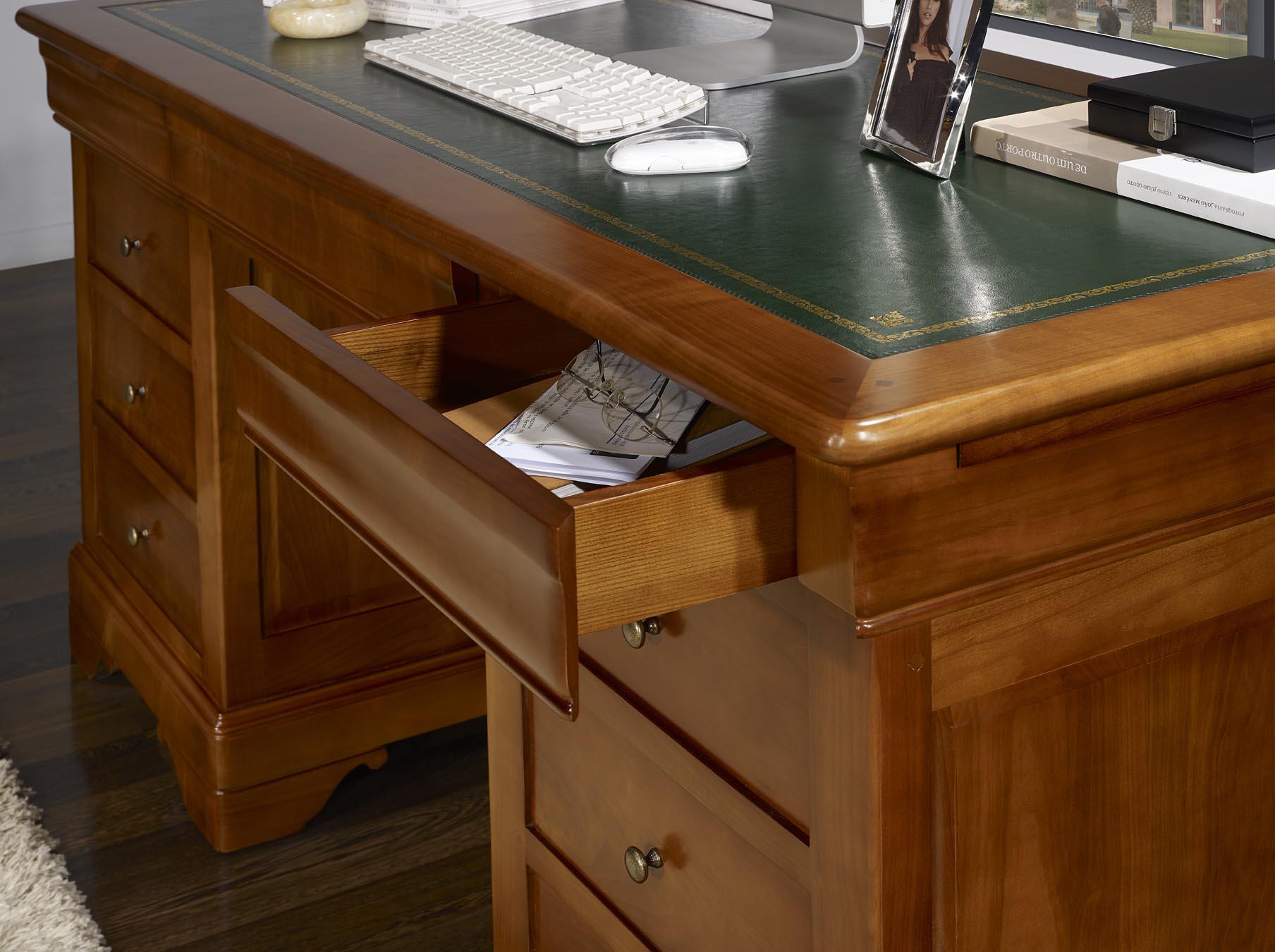 Bureau ministre tiroirs en merisier massif de style louis