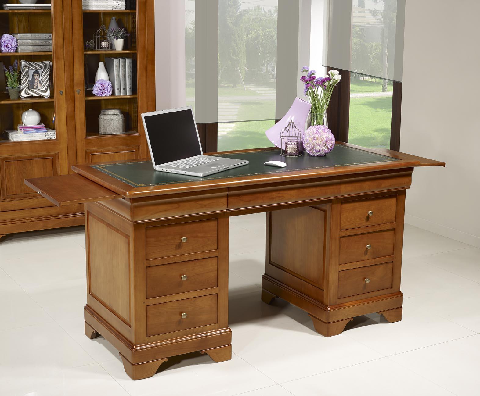 bureau ministre 9 tiroirs en merisier massif de style louis philippe meuble en merisier. Black Bedroom Furniture Sets. Home Design Ideas