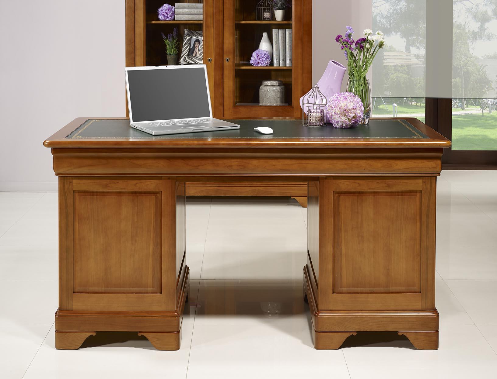 Bureau Ministre 9 tiroirs en Merisier Massif de style Louis Philippe , meuble -> Bureaux Style Ministre
