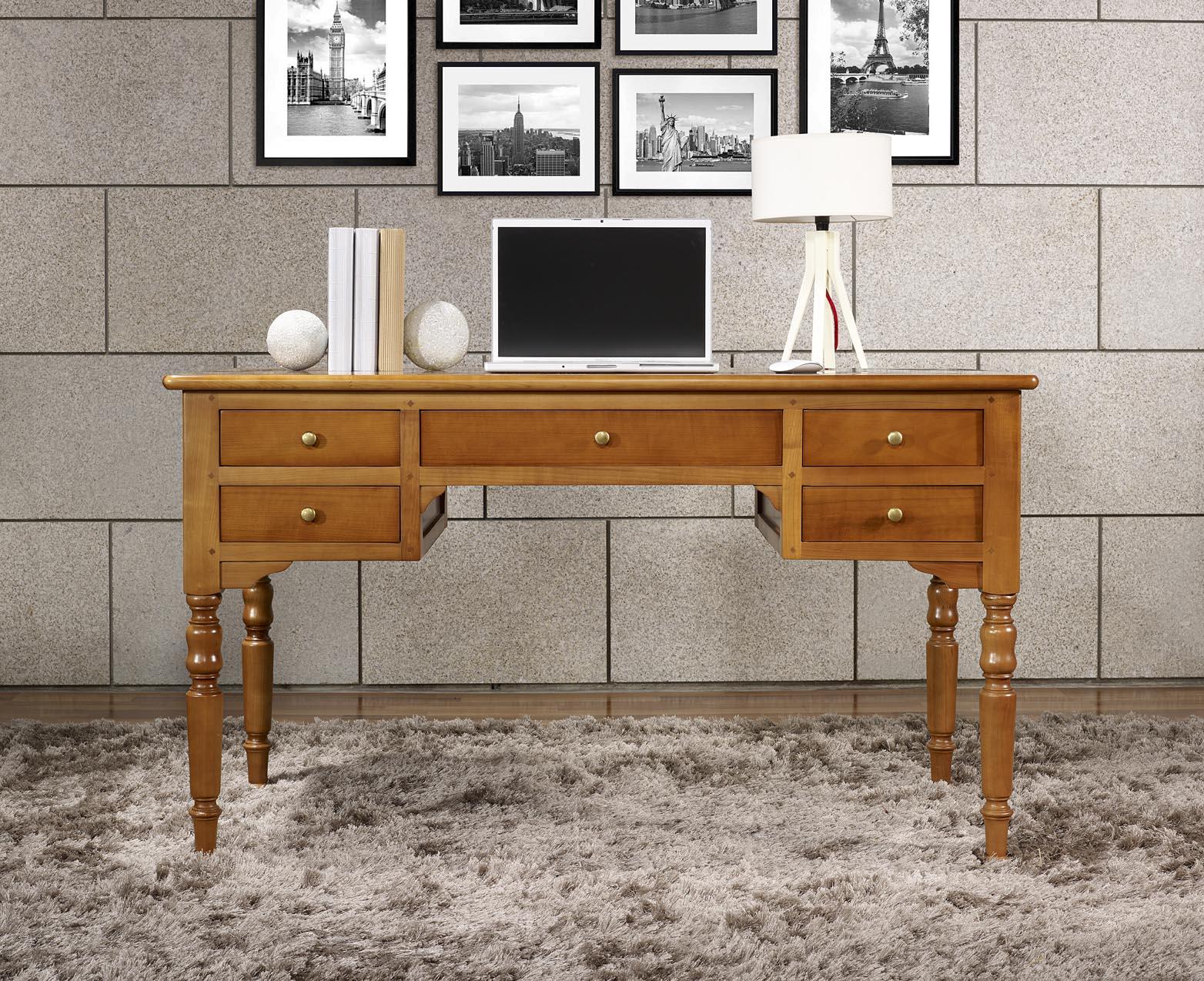 Bureau Ministre 5 tiroirs en Merisier Massif de style Louis Philippe , meuble -> Bureaux Style Ministre