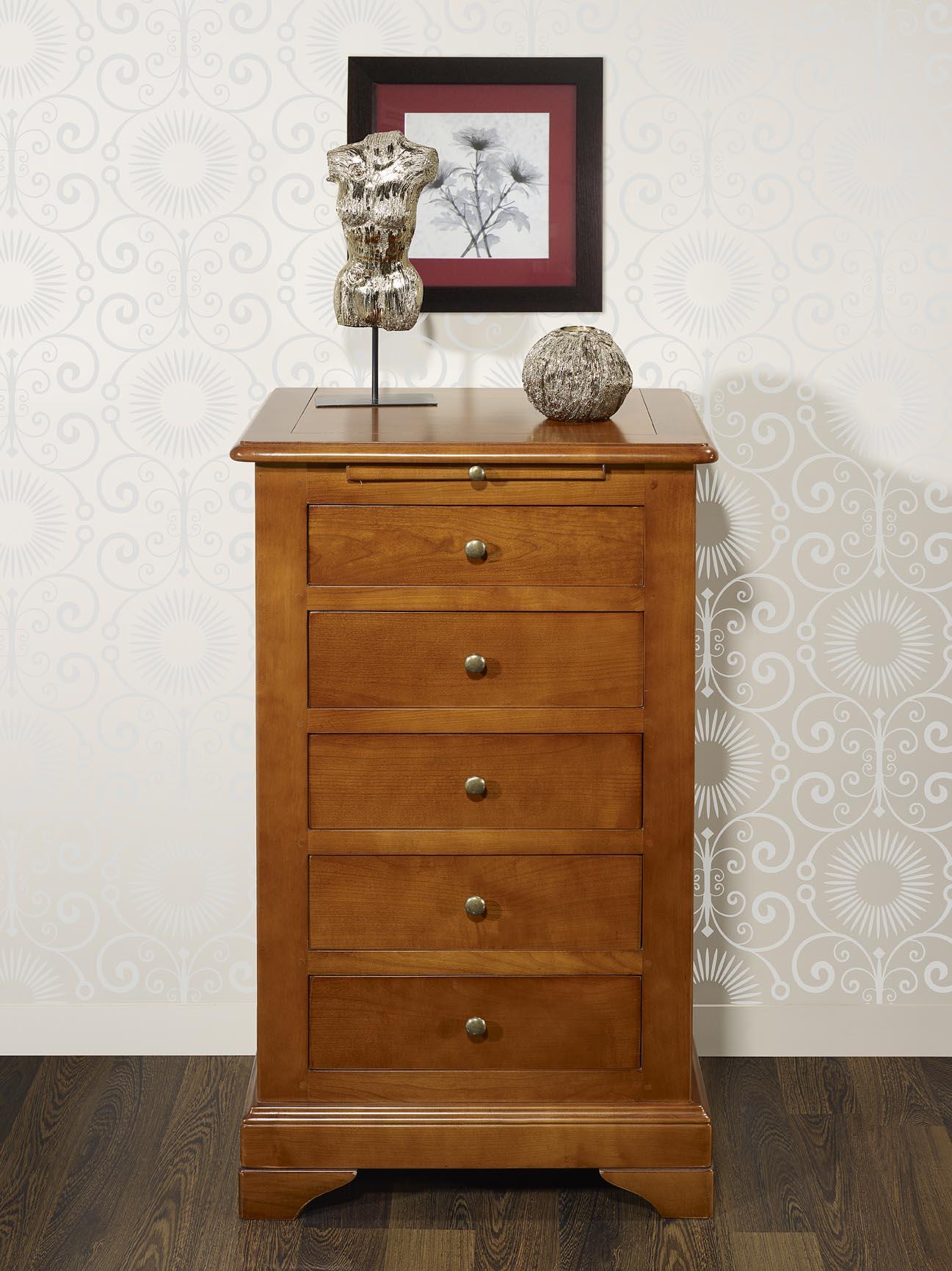 chiffonnier 5 tiroirs en merisier massif de style louis philippe meuble en merisier. Black Bedroom Furniture Sets. Home Design Ideas