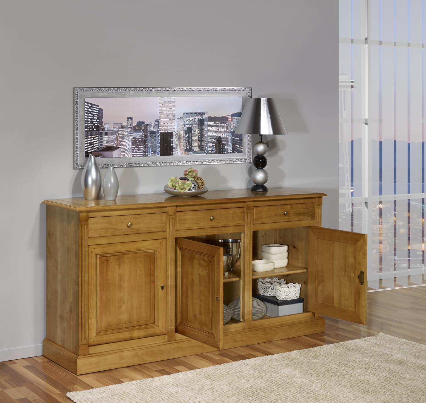 buffet 3 portes 3 tiroirs valentine en merisier massif de style directoire meuble en merisier. Black Bedroom Furniture Sets. Home Design Ideas