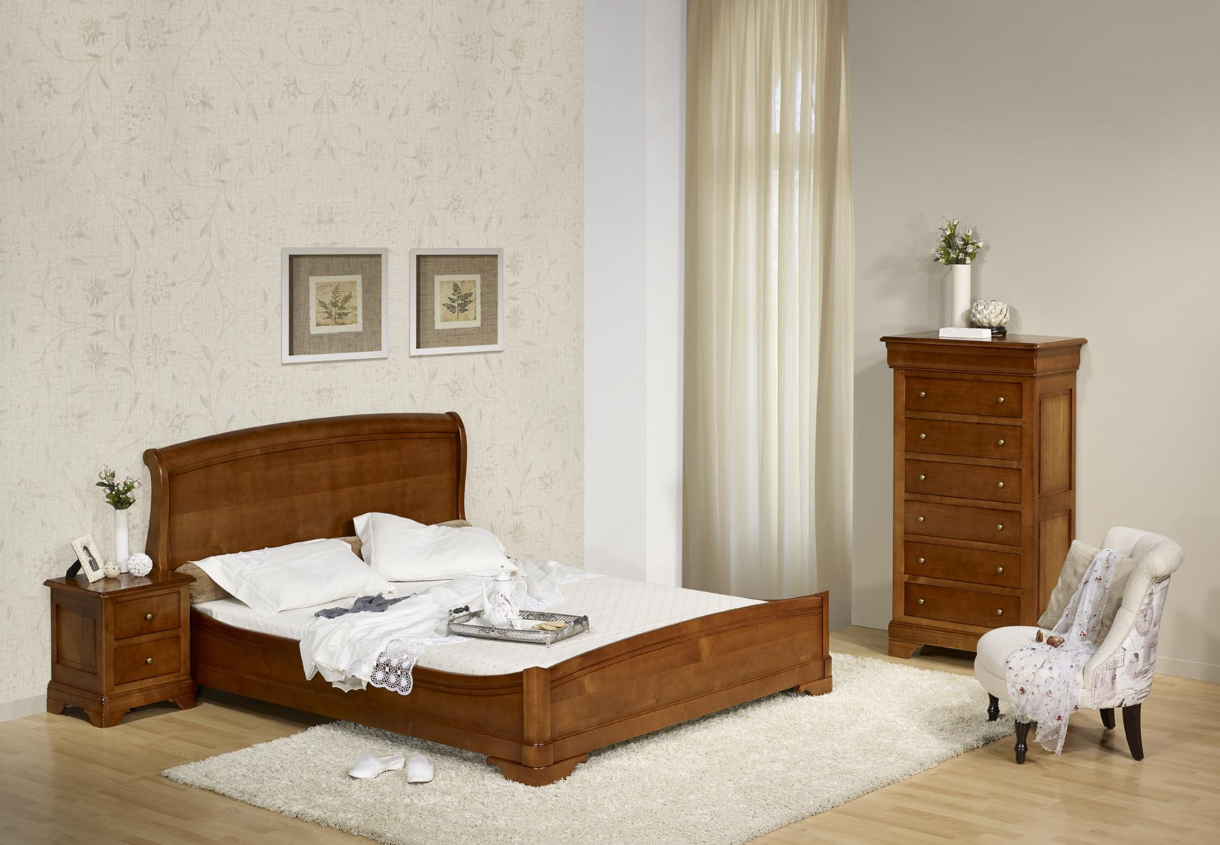 lit 140x190 en merisier massif de style louis philippe. Black Bedroom Furniture Sets. Home Design Ideas