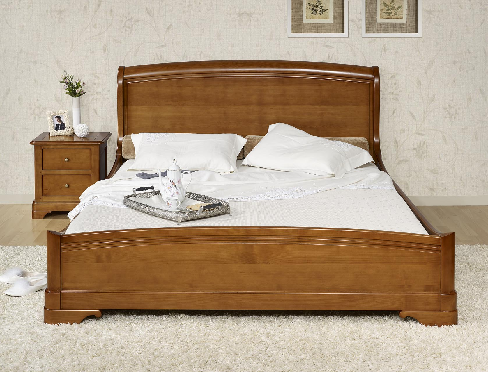 lit 160x200 en merisier massif de style louis philippe meuble en merisier. Black Bedroom Furniture Sets. Home Design Ideas