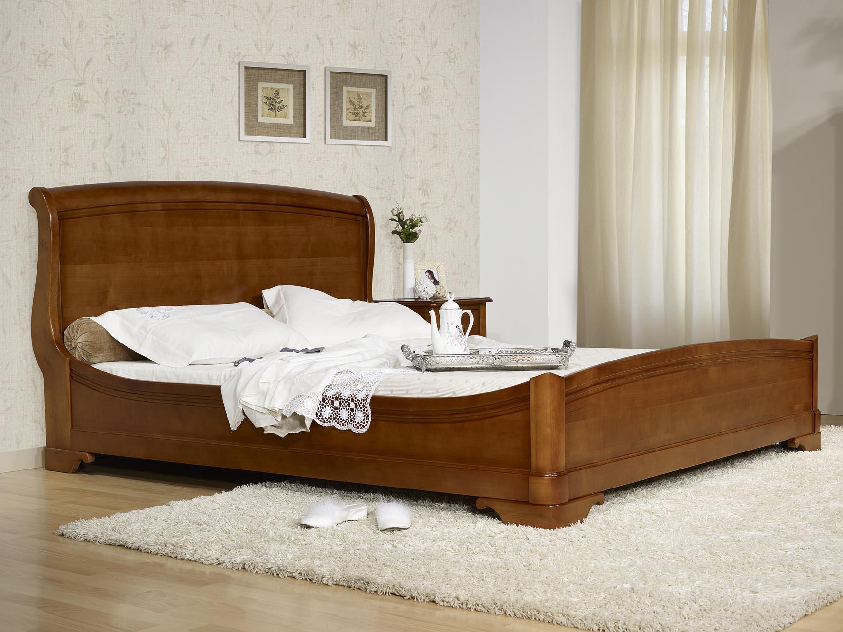 lit 180x200 en merisier massif de style louis philippe meuble en merisier. Black Bedroom Furniture Sets. Home Design Ideas
